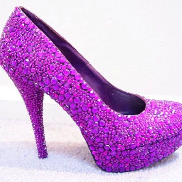 purple crystal designed high heels