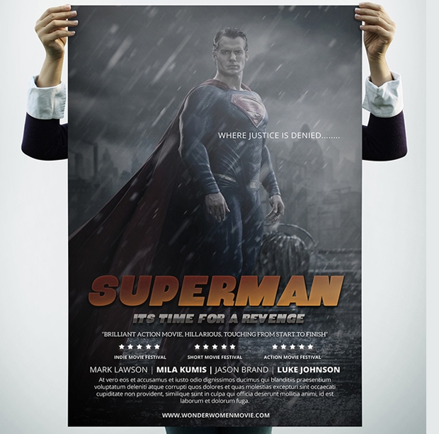 Superman Movie Poster Mockup