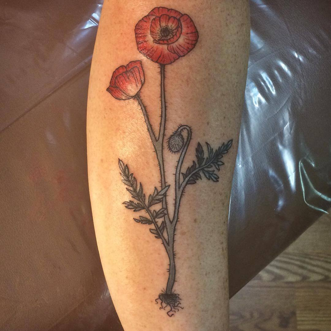 Natural Poppy Tattoo Design (1)