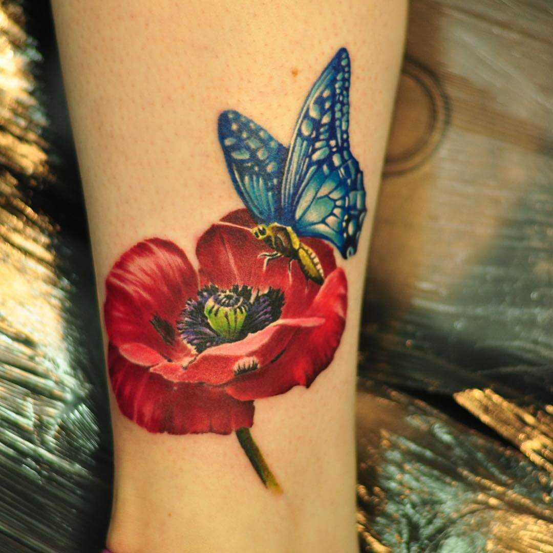 Butterfly with Poppy Tattoo (1)