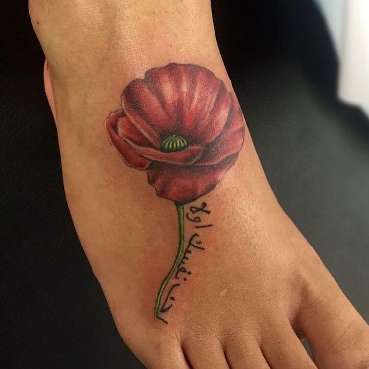 Fabulous Poppy Tattoo on Foot (1)
