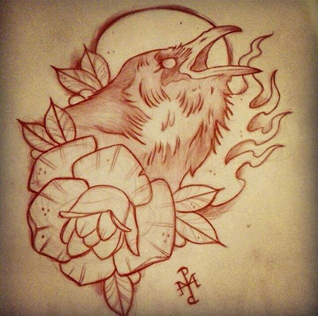 crow tattoo design with flower