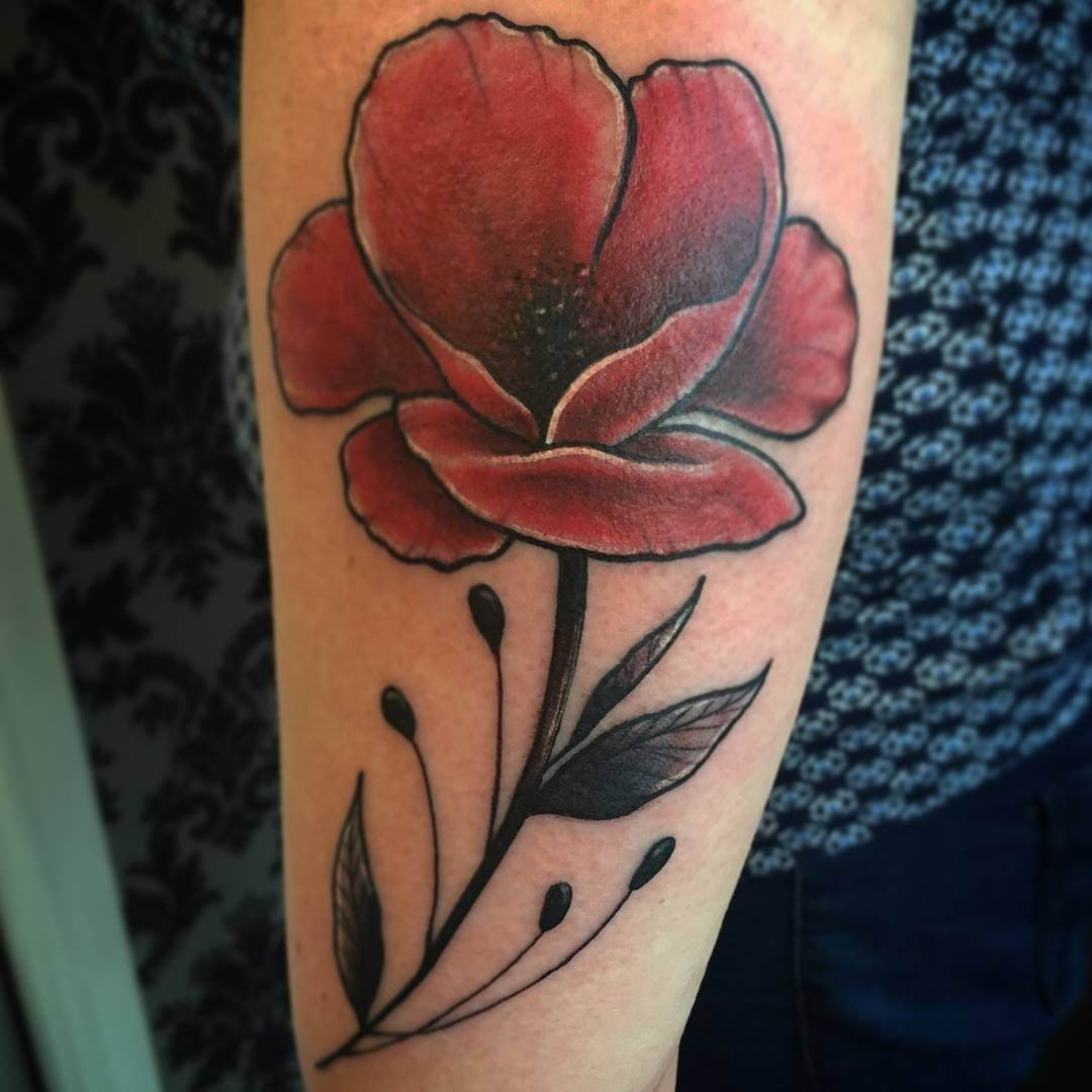 Half Sleeve Poppy Tattoo (1)