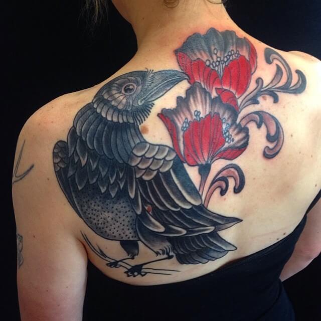 Bird with Poppy Tattoo Design (1)