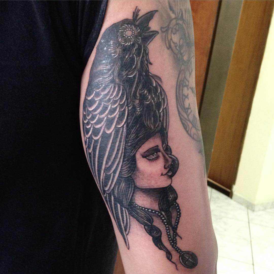 crow tattoo with girl design
