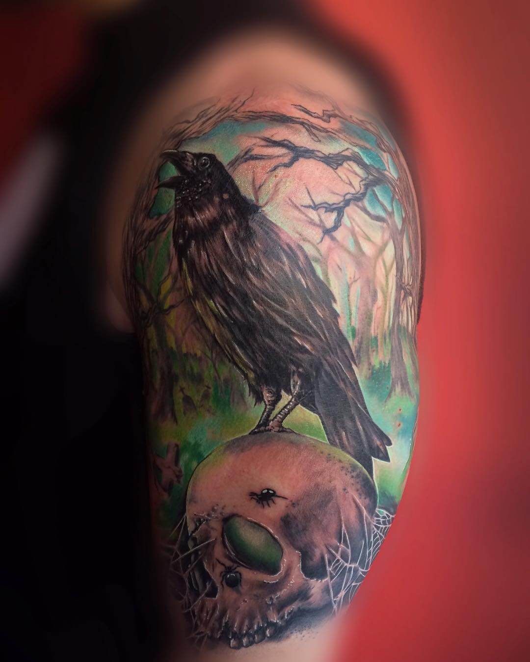 wonderful crow tattoo design on hand