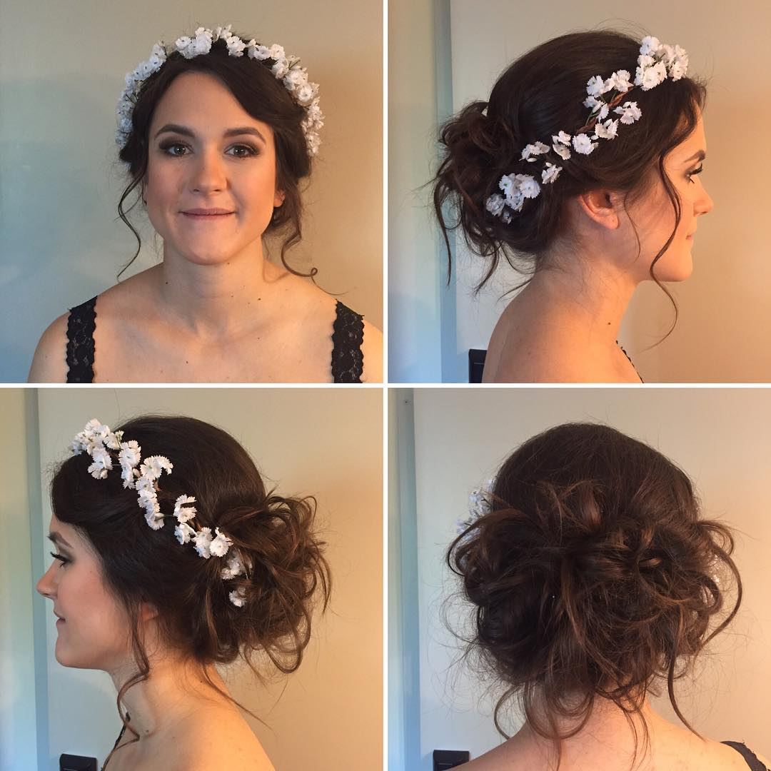 lovely hairstyle with small flowers