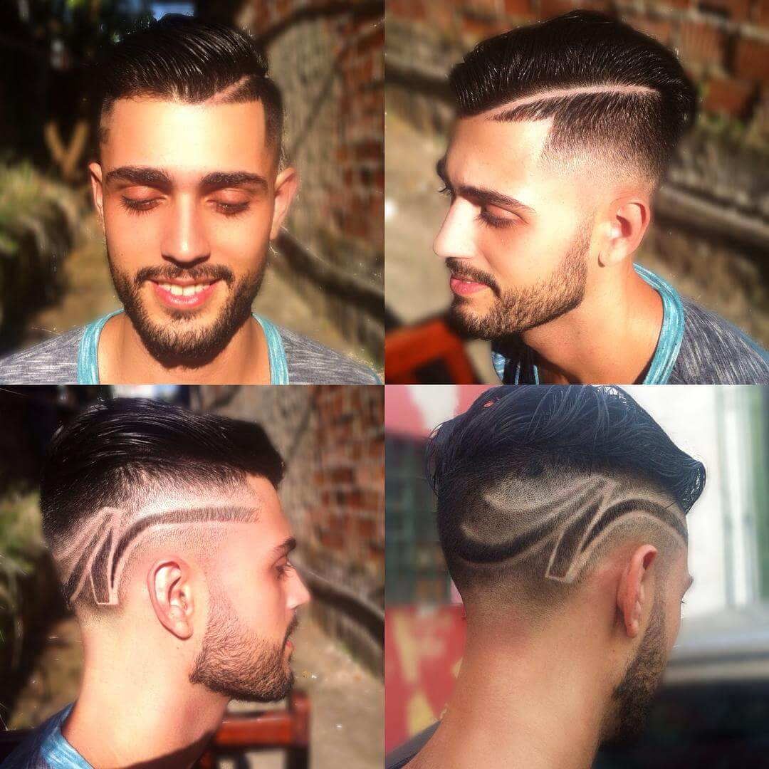 Side Designed Faded Haircut Style