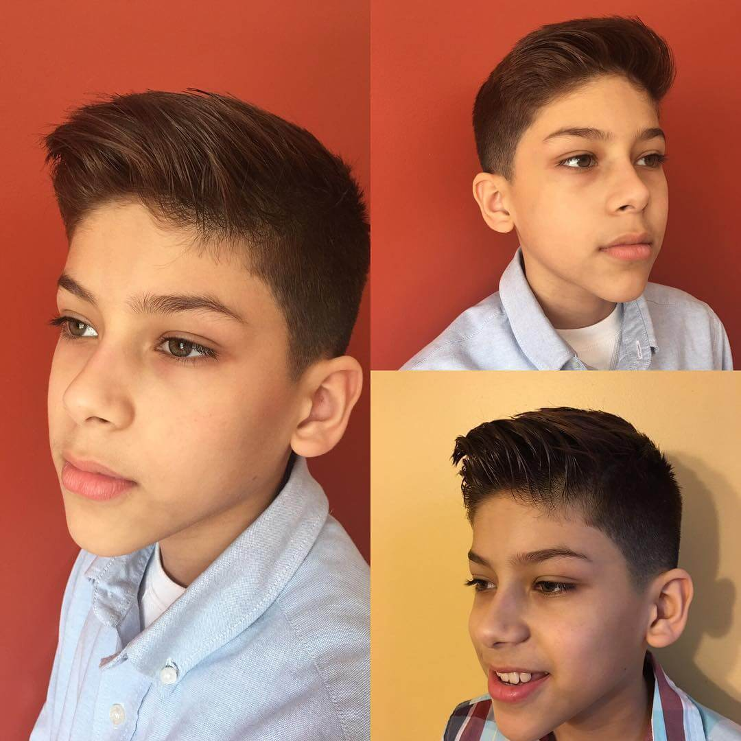 Front Raised Haircut For Boys With Fade