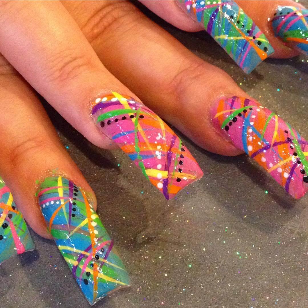 multicolor nail art design