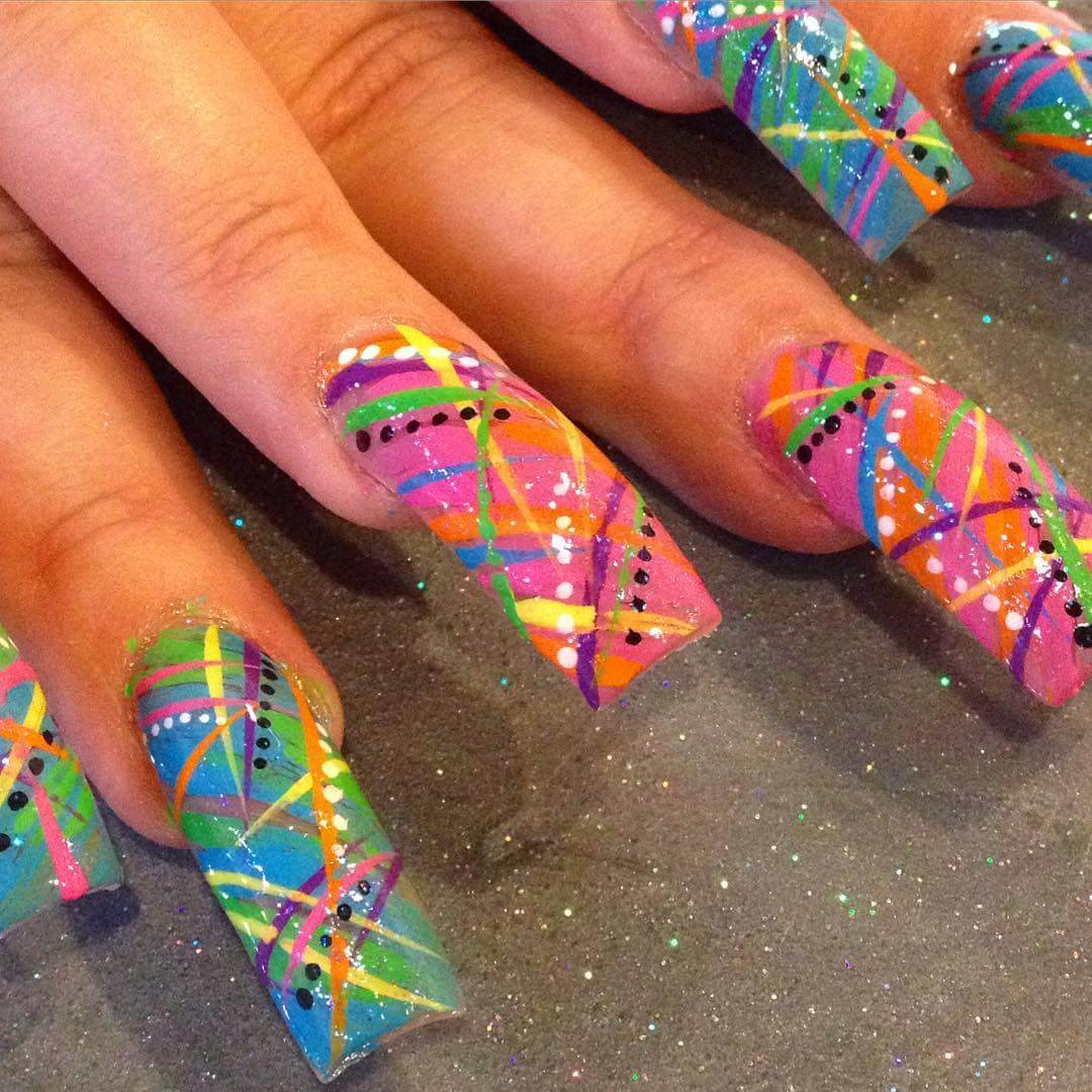 Multicolored Nail Art Design - 26+ Colorful Nail Art Designs, Ideas Design Trends - Premium PSD