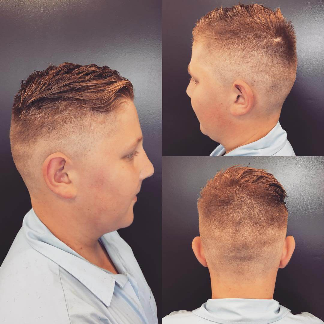 Side Parted Round Fade Haircut Design