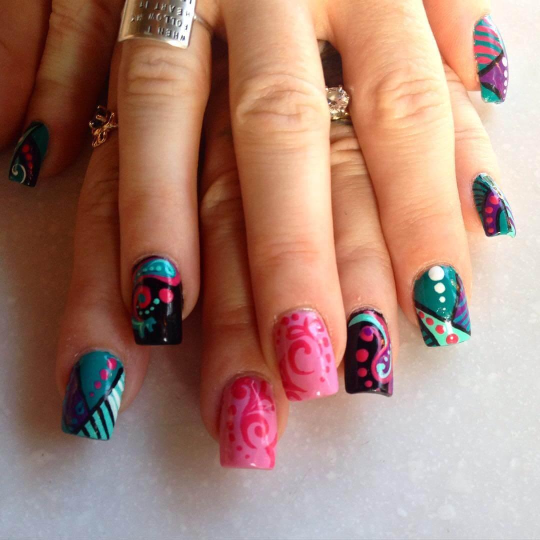colorful retro nail art