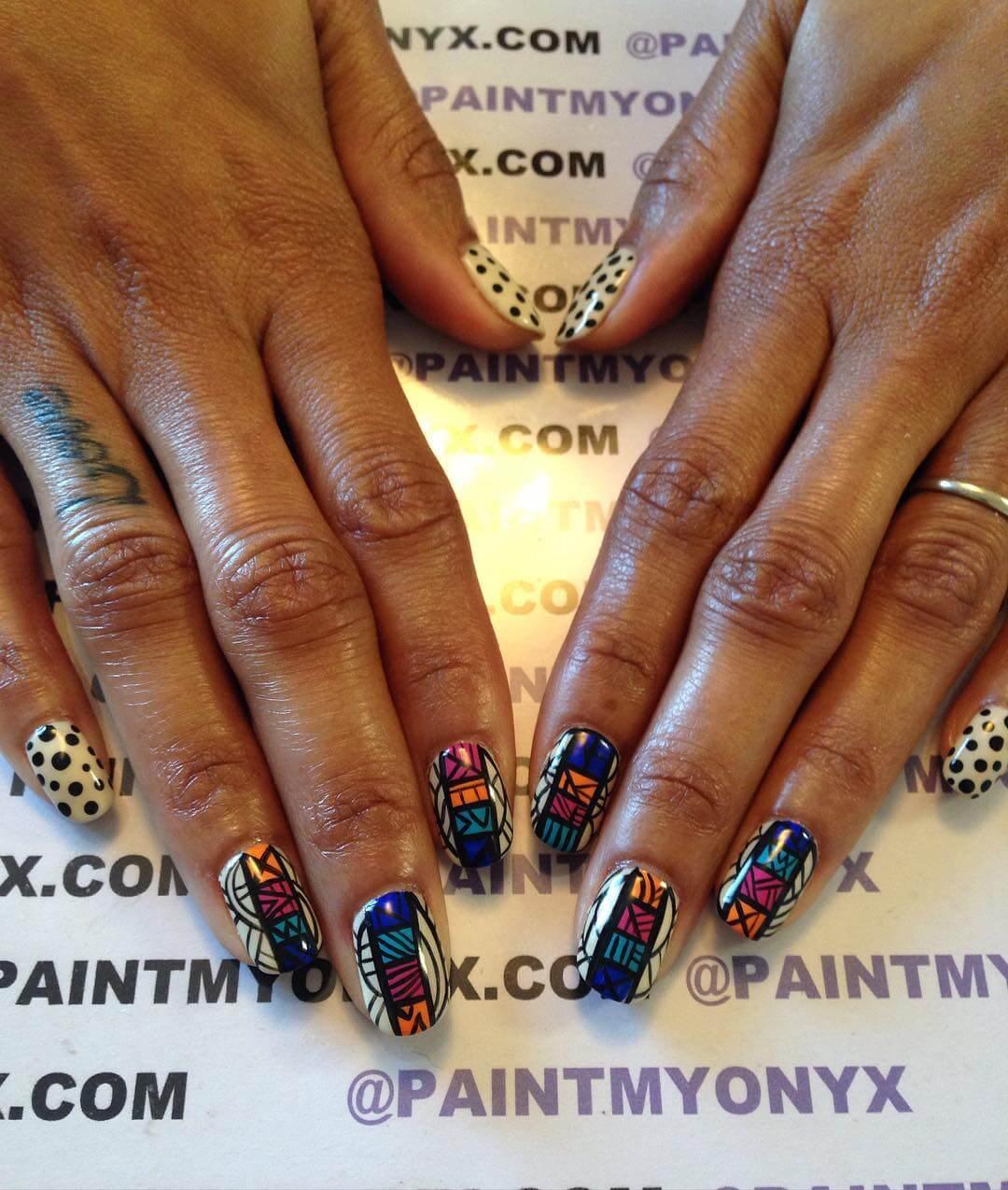 Colorful Polka Dots Nail Design