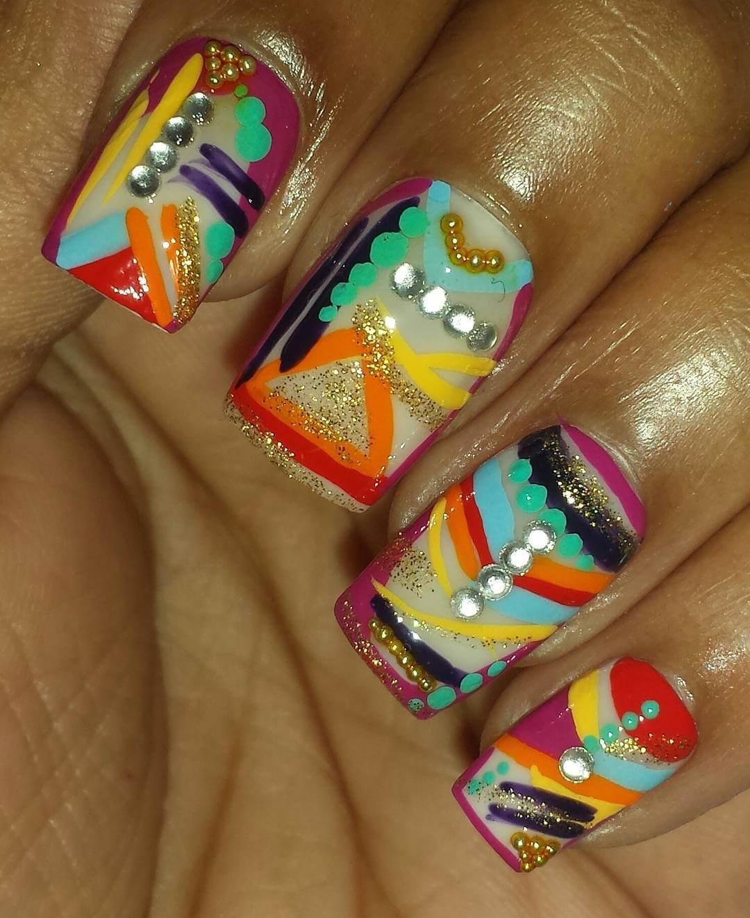 colorful glory nail design