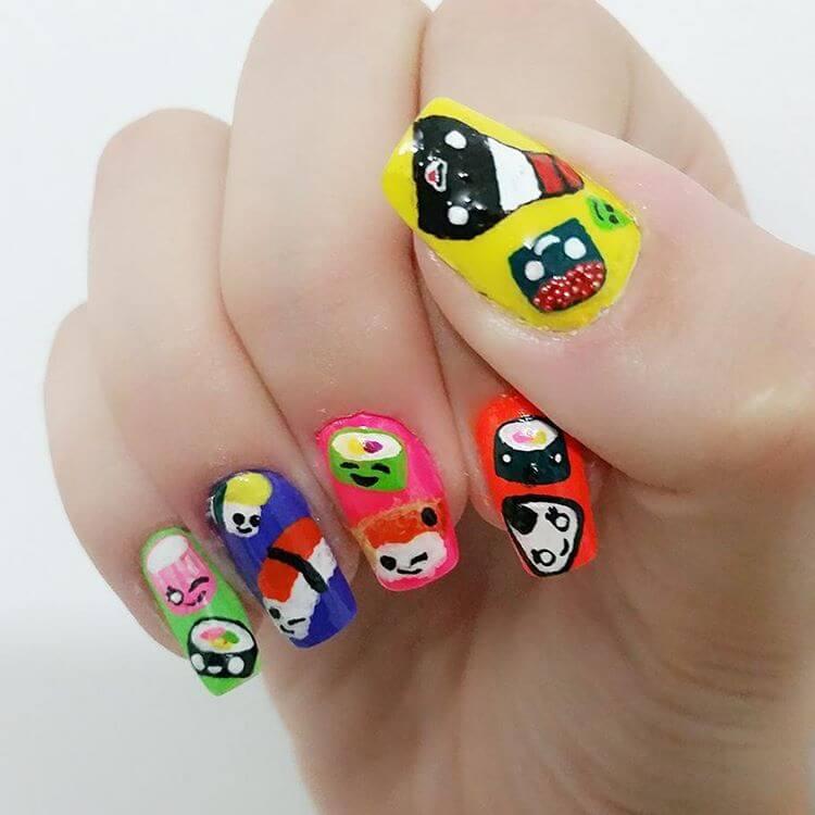 cute sushi nail art
