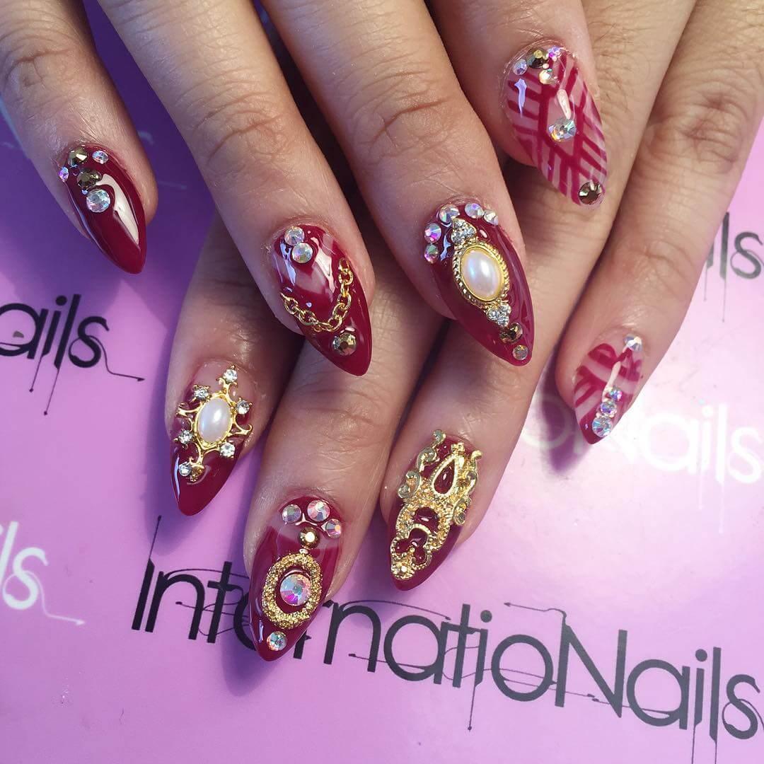 colorful wedding nail art