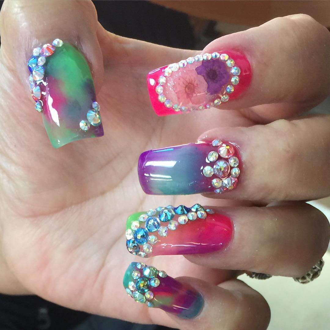 Colorful Dried Flower Nail Design
