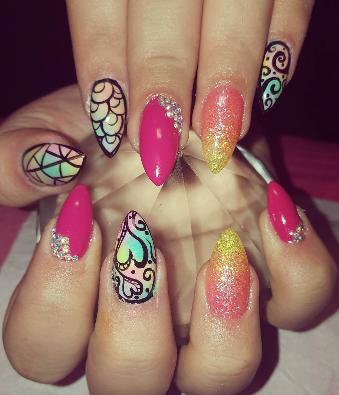 Colorful Nail Art for Point Nails