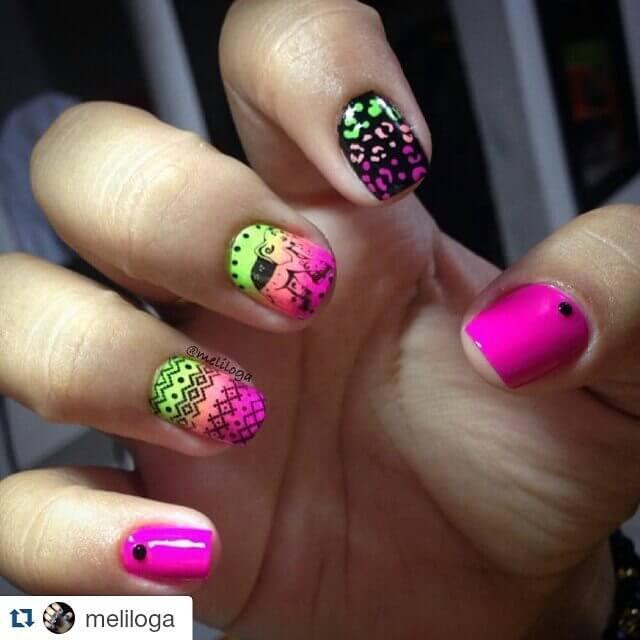 colorful stamping nail design