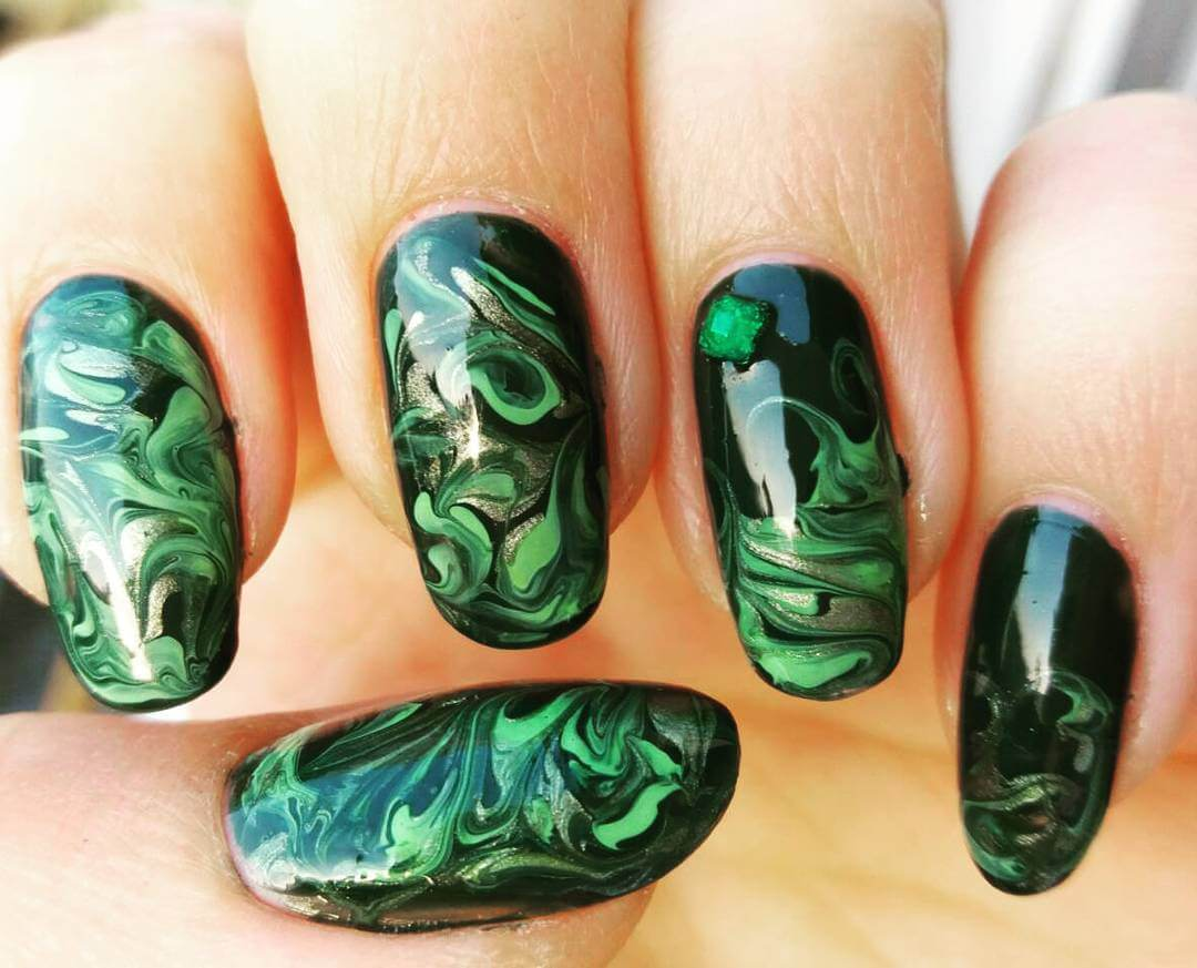 Green Color Nail Art Design