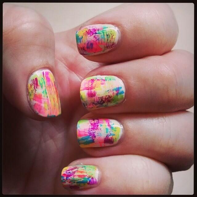 colorful graffiti nail art
