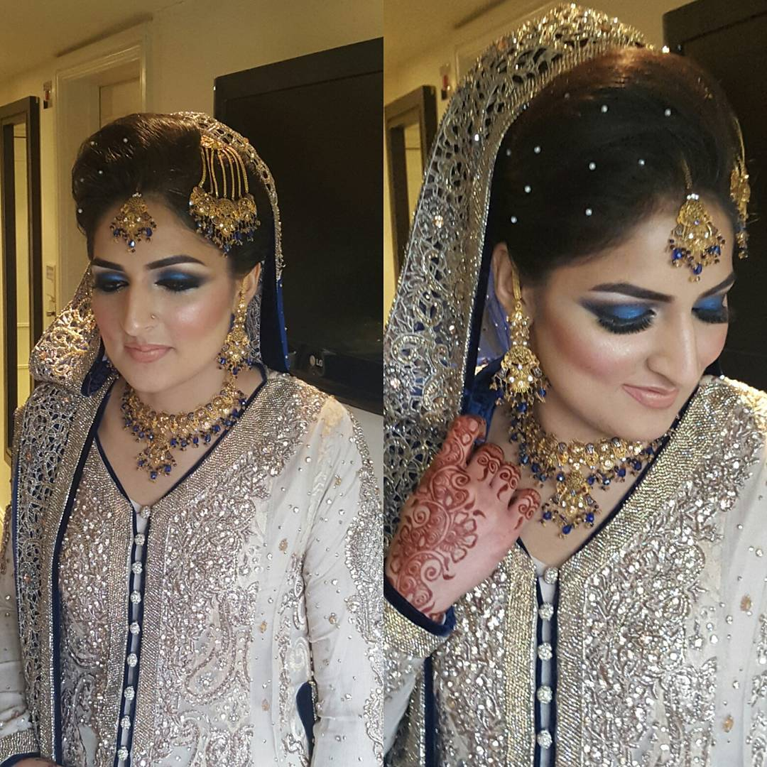 blue eye makeup design for bridal