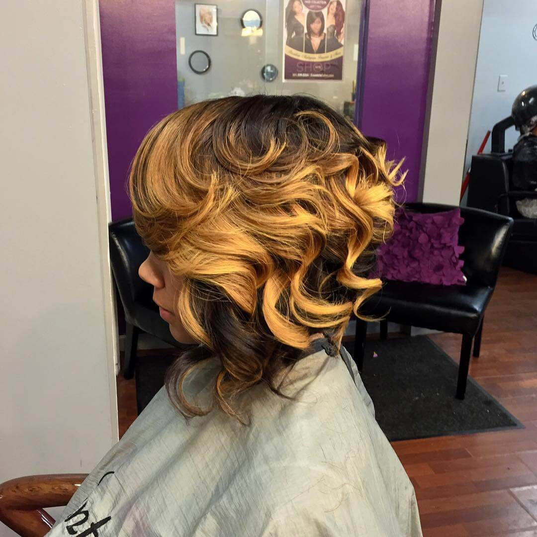 curly bob sew hairstyle idea