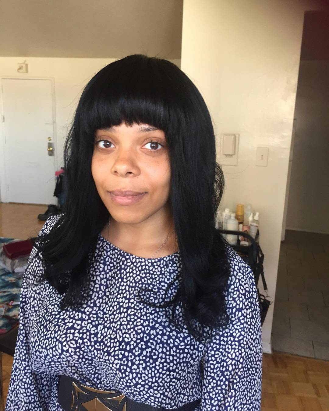 front bang medium black haircut