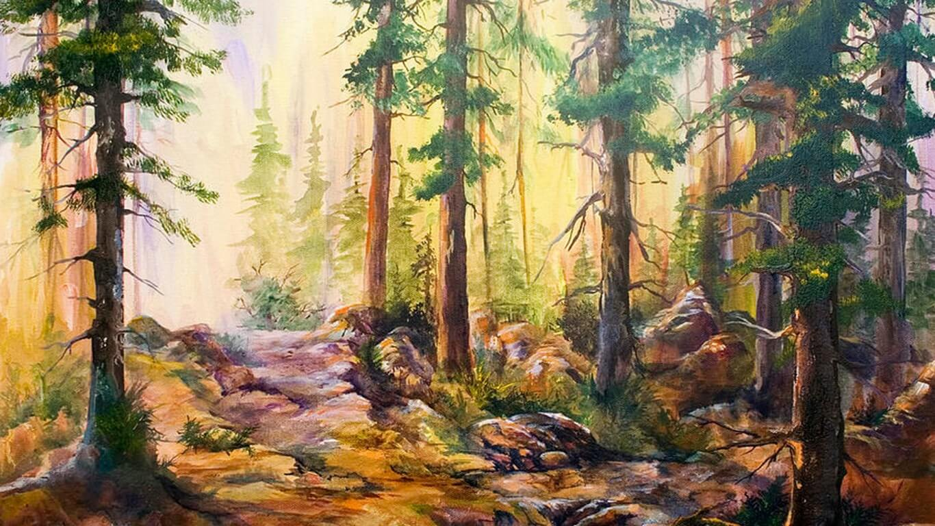Forest Painting Background