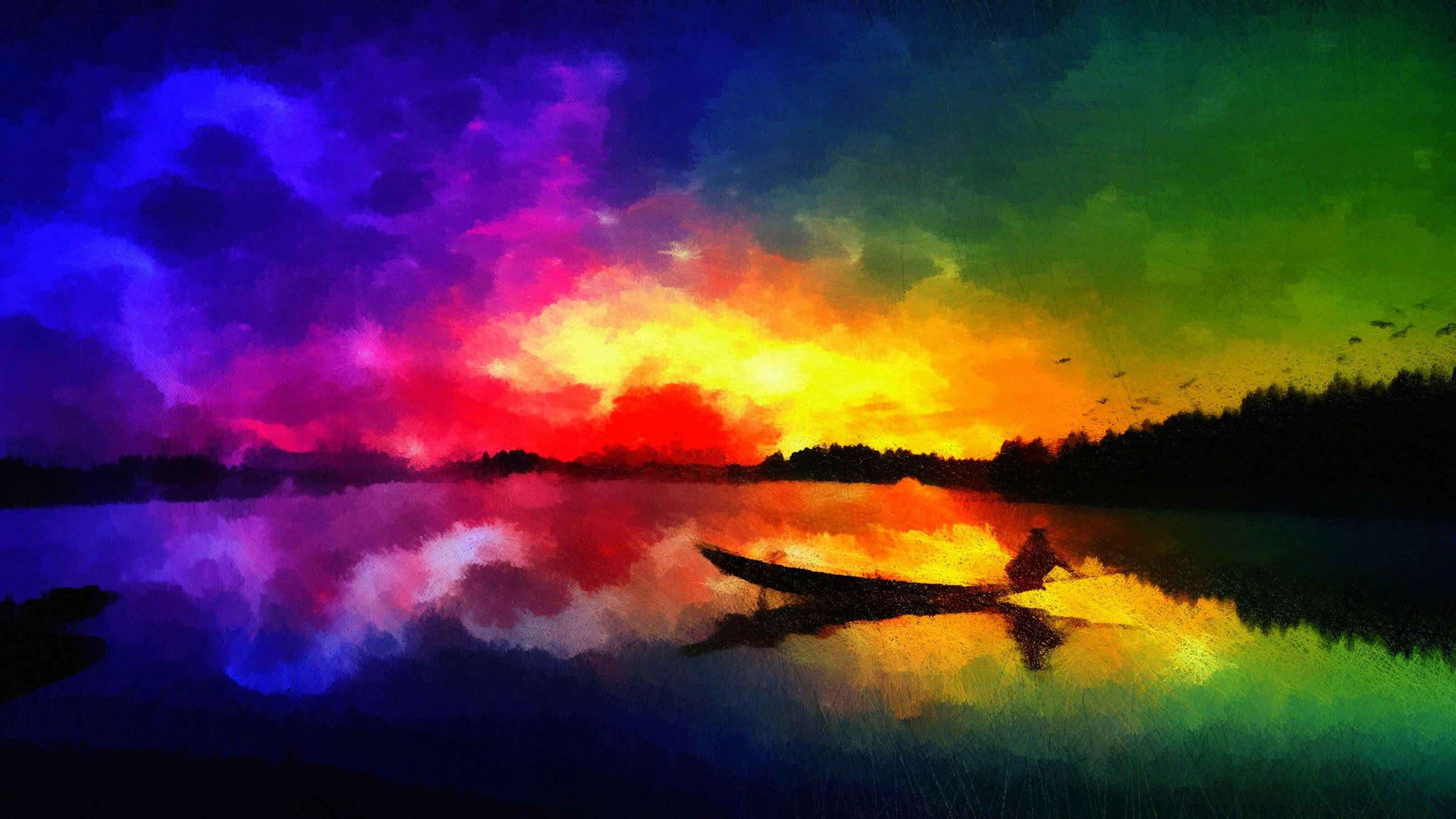 Amazing Sunset Art Painting Background