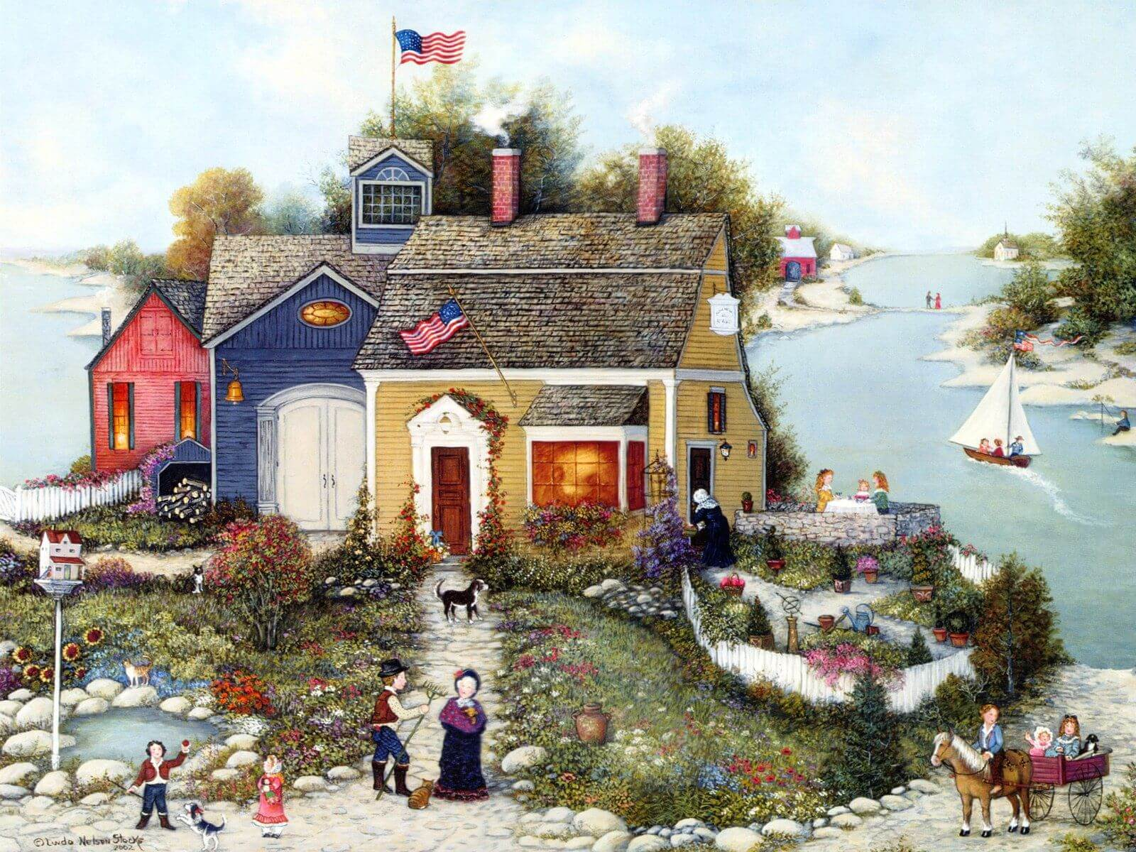 Art Painting Summer Cottage Wallpaper For Desktop