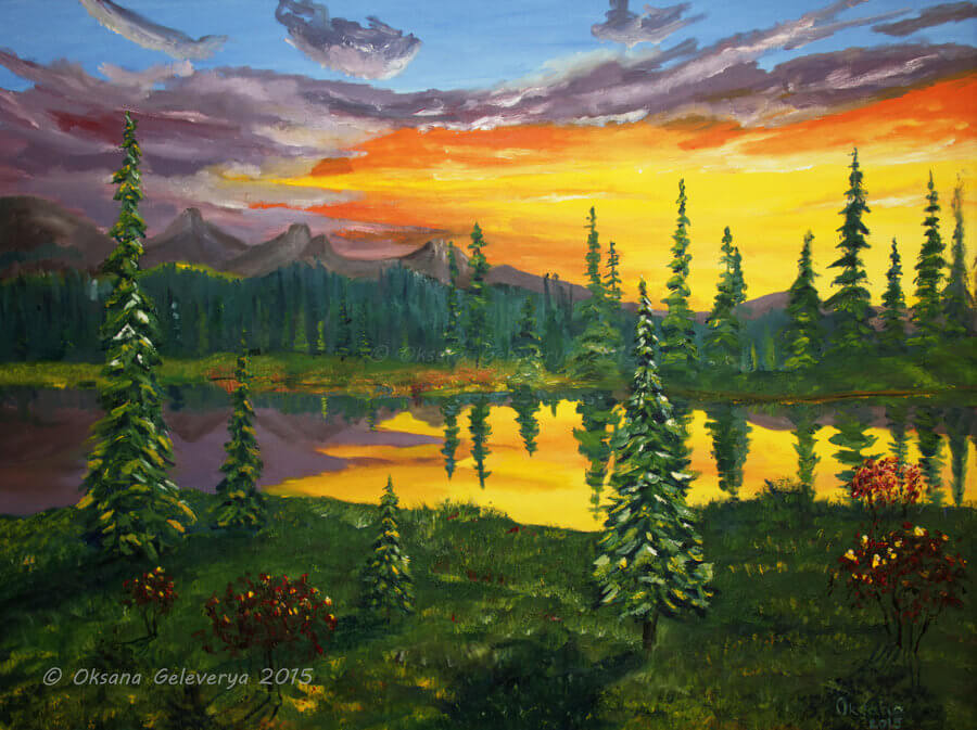 Mountain Lake Art Painting Background
