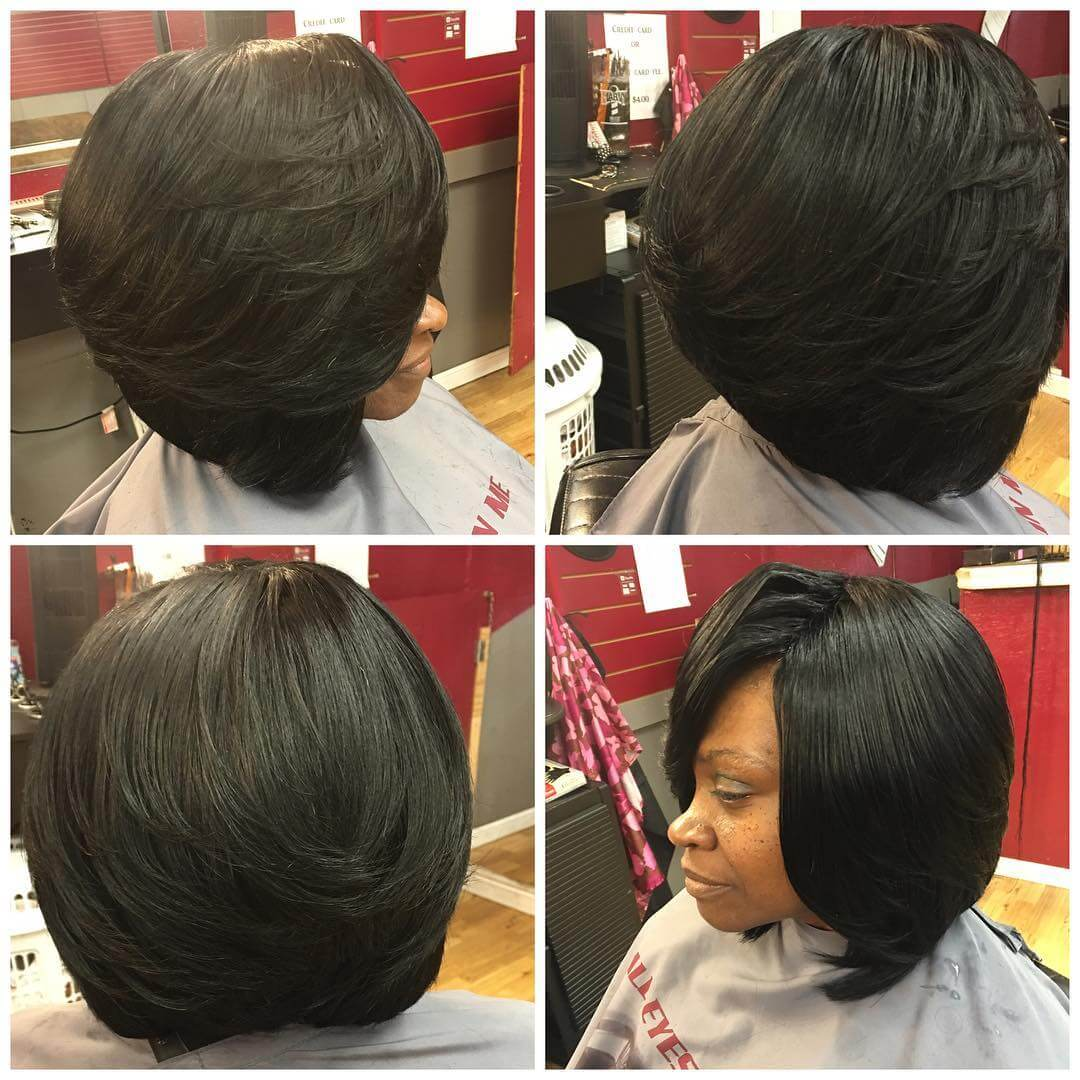 black heavy side bang bob haircut