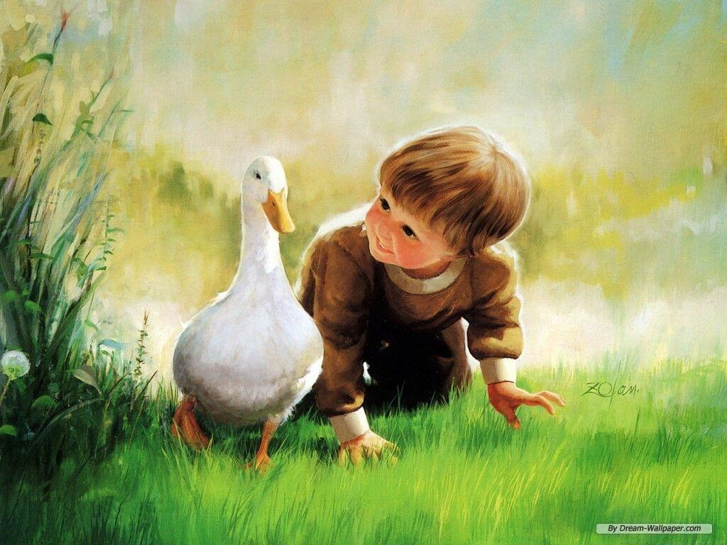 Cute Boy Art Painting Background