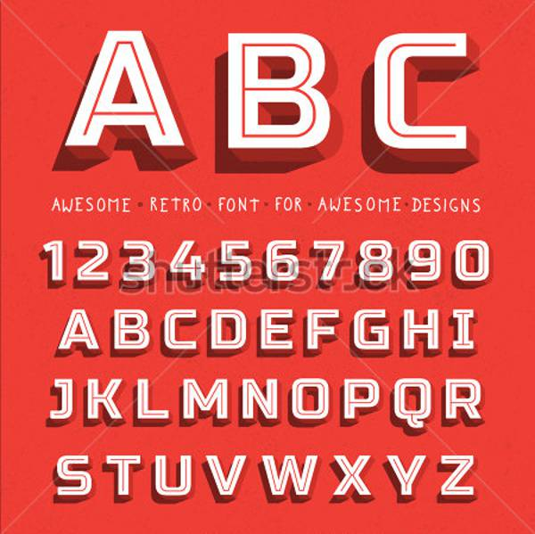 3d font big red letters standing vector1