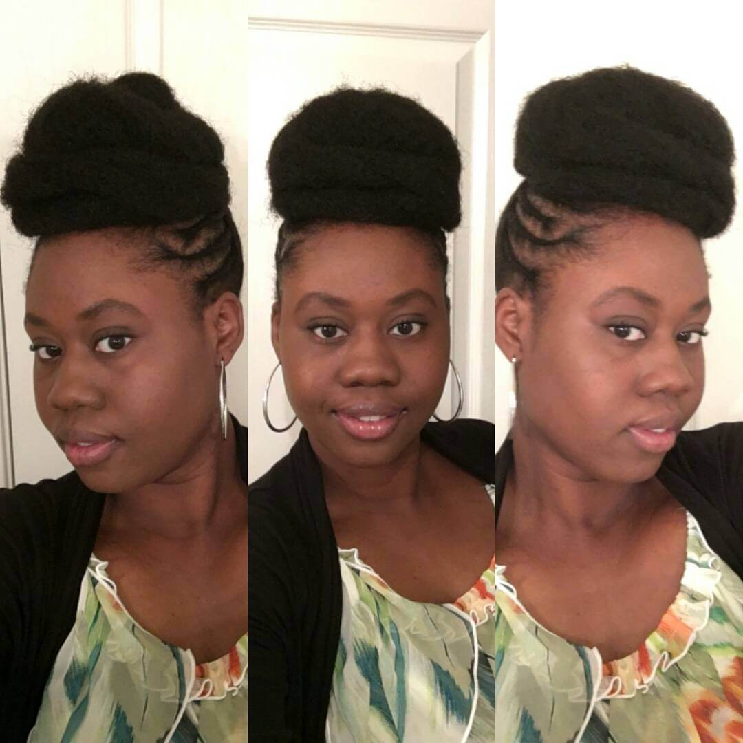 top bun black women hairstyle idea