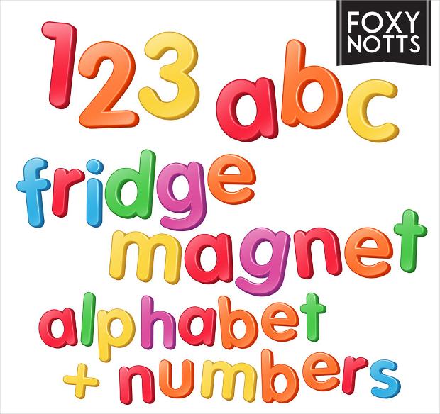 3D Rainbow Fridge Magnet style fonts