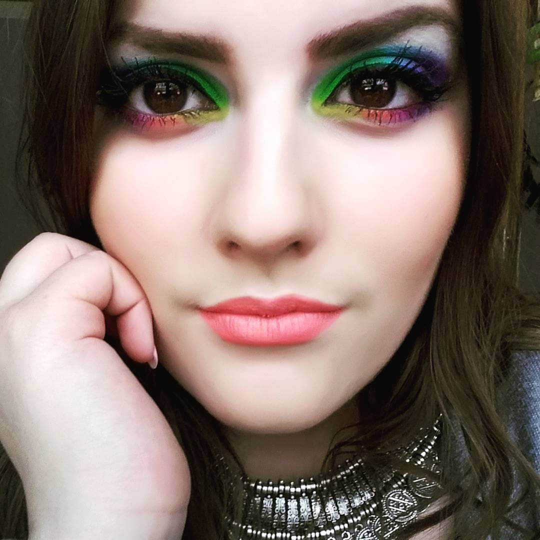 Brown Eyes With Rainbow Makeover