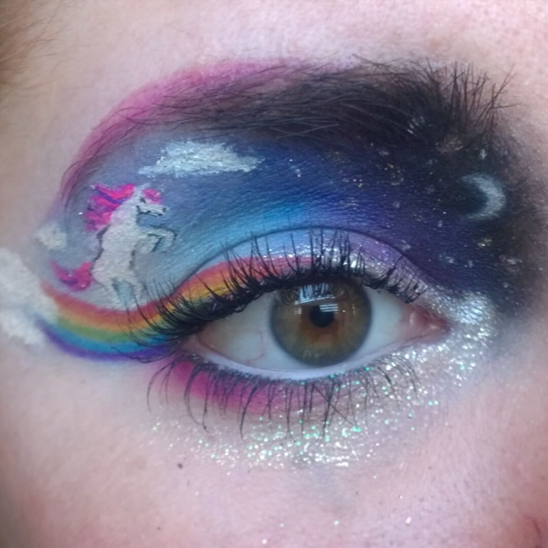 Eye Makeup of Galaxy With Rainbow