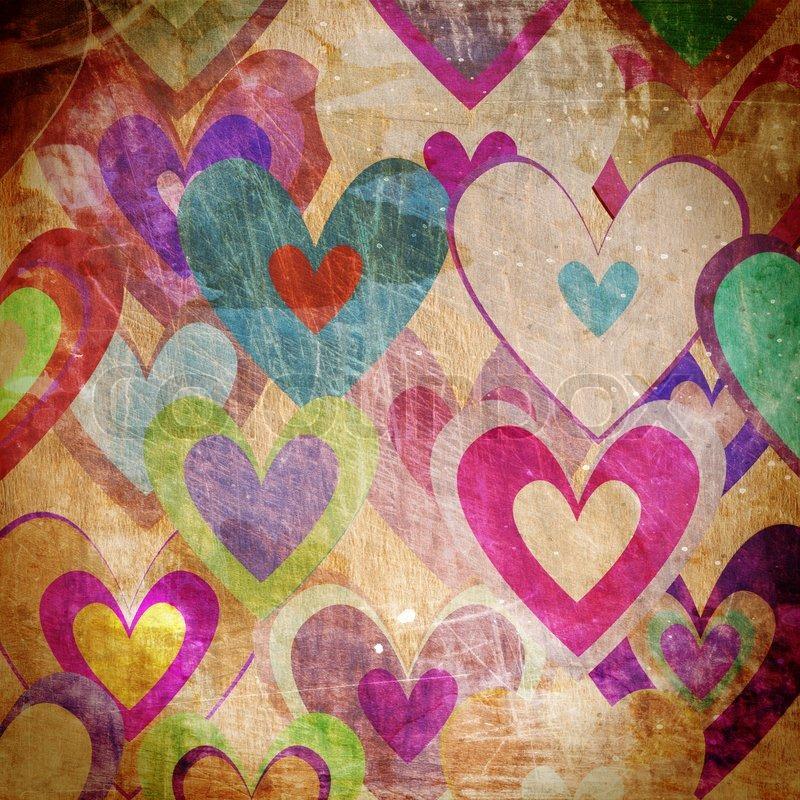 Grunge Love Pattern Background