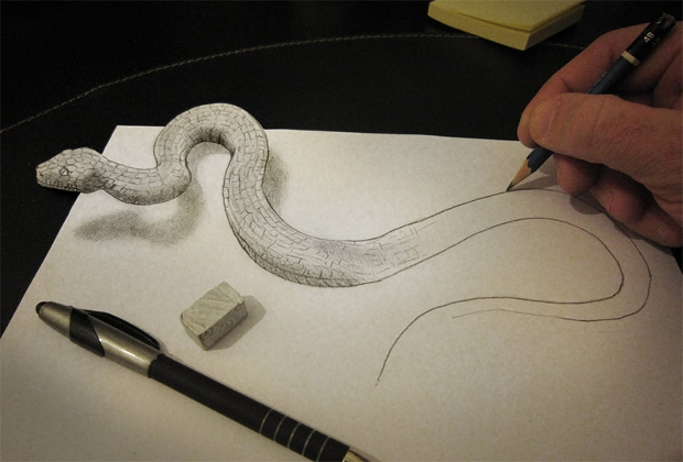 Awesome 3d pencil sketch art snake
