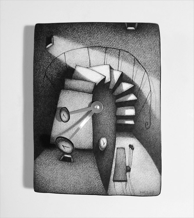 Artistic 3d moving hands wall clock pencil drawing artwork