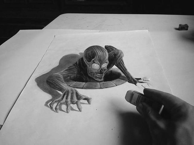 beautiful 3d illusion pencil drawing