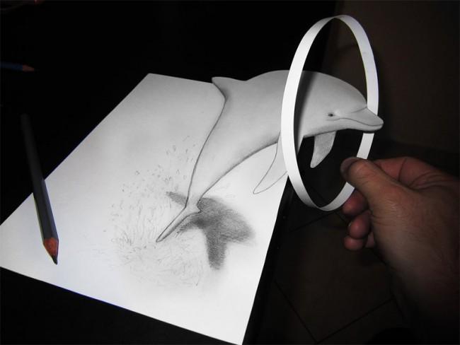 Dolphin 3d pencil sketch