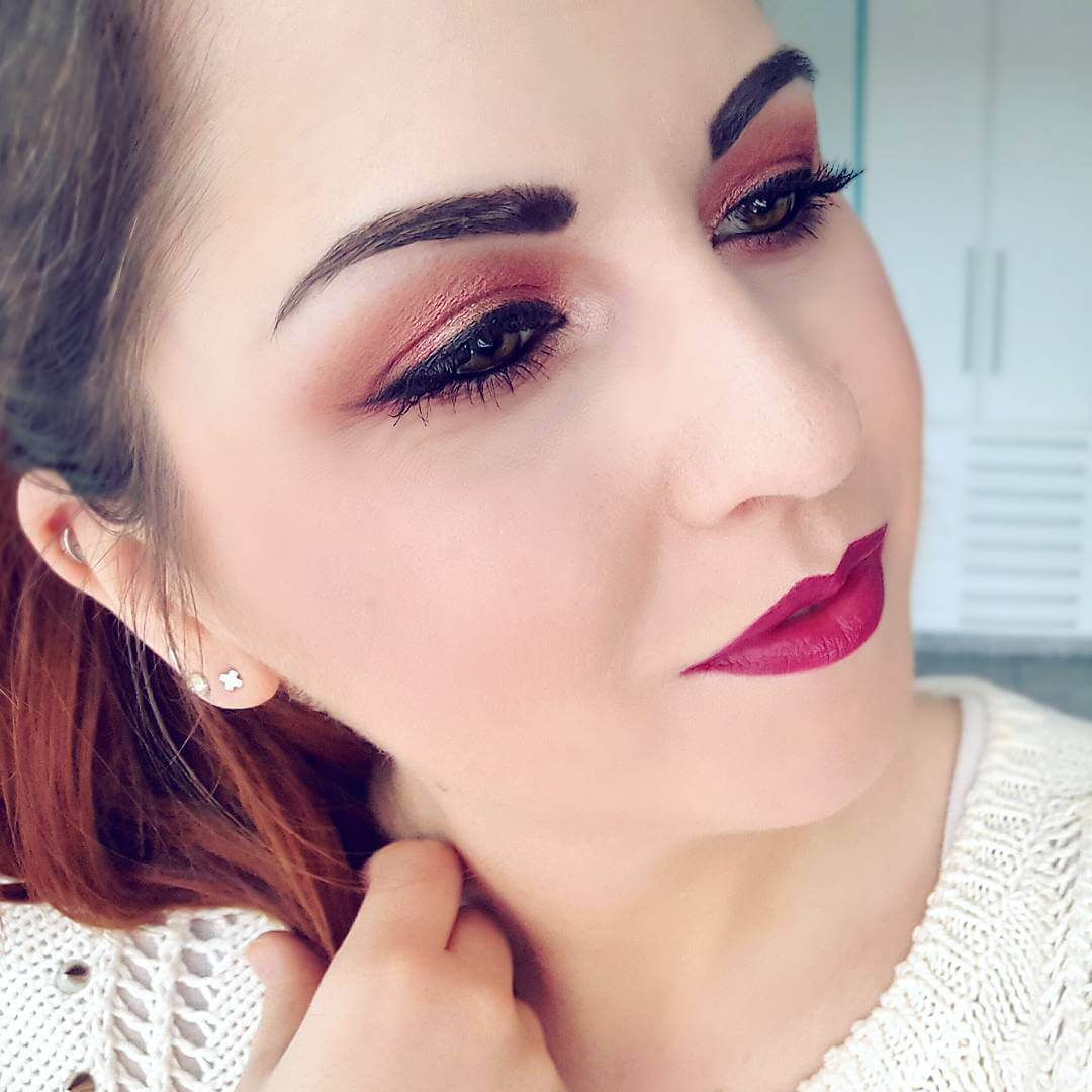 Cool Light Red Colored Makeup