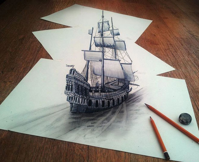 Beautiful 3d illusion with pencil drawing