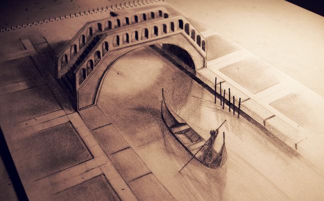Nice 3d pencil Venice city art
