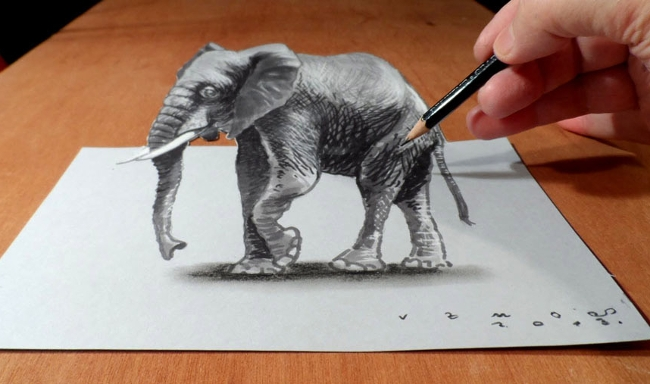 Sketch of elephant in 3d using pencil