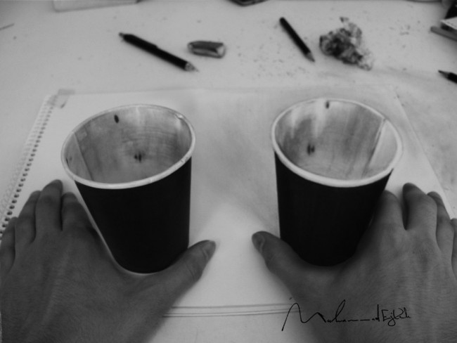 Real cup and 3d sketched cup
